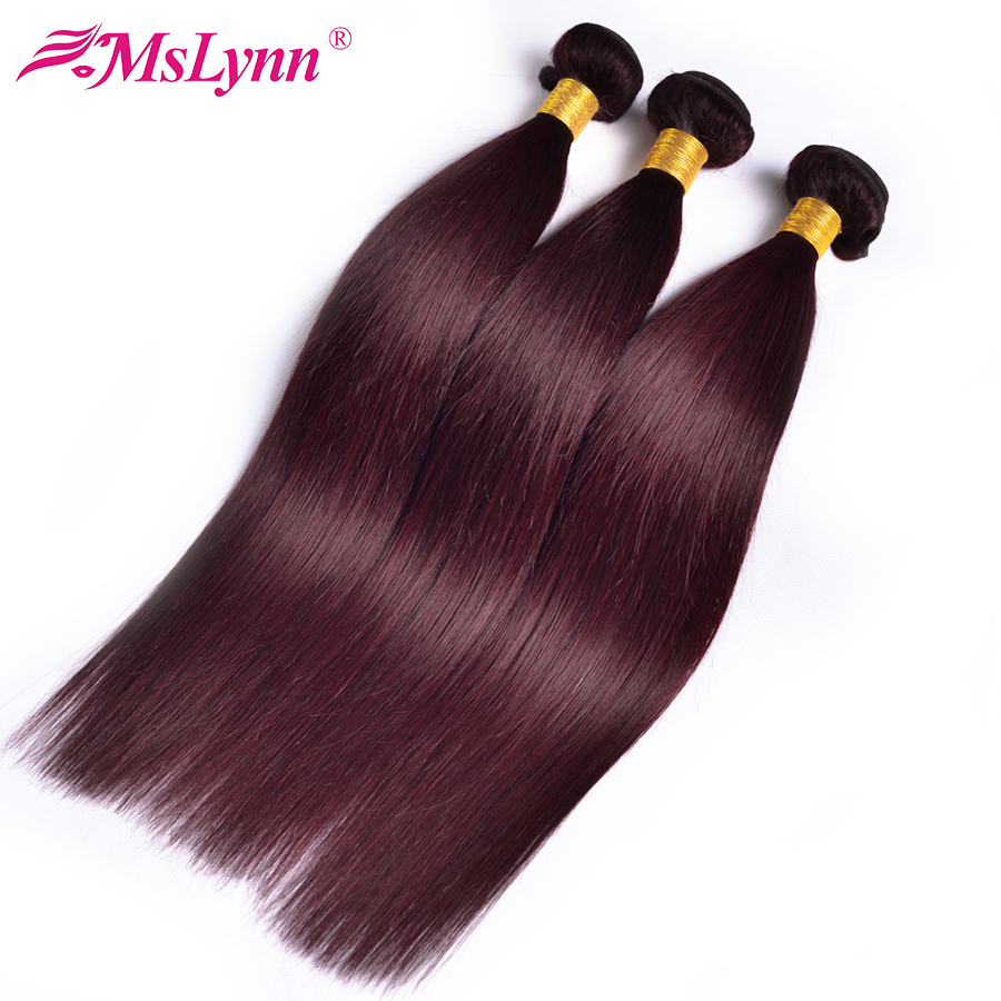 Human Hair Weaves Adroit Mslynn Hair 99j Brazilian Straight Hair Bundles 3 Bundle Deals Burgundy Human Hair Bundles 12-24inch Non Remy Hair Extensions Strong Resistance To Heat And Hard Wearing