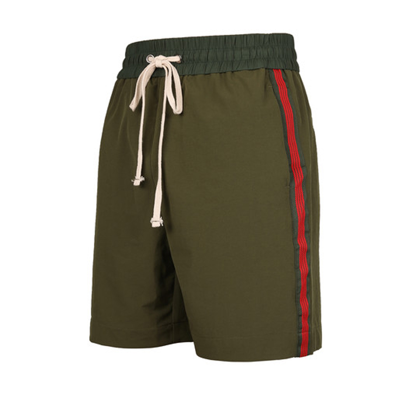 2019 Men's Fashion Cotton Side Printed Shorts Casual Elastic Waist Vintage Trousers Sweat Army Green Black Loose Shorts Summer