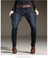 Odinokov Brand 2017 Mens Stretch Jeans Summer Lightweight Thin Denim Black Blue Slim Fit Dress Jeans