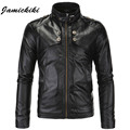 M-XXXXL Plus Size 2016 Jamickiki Brand Washed Leather Jacket Men High Quality Male Stand Button Collar Motorcycle Mens Overcoat