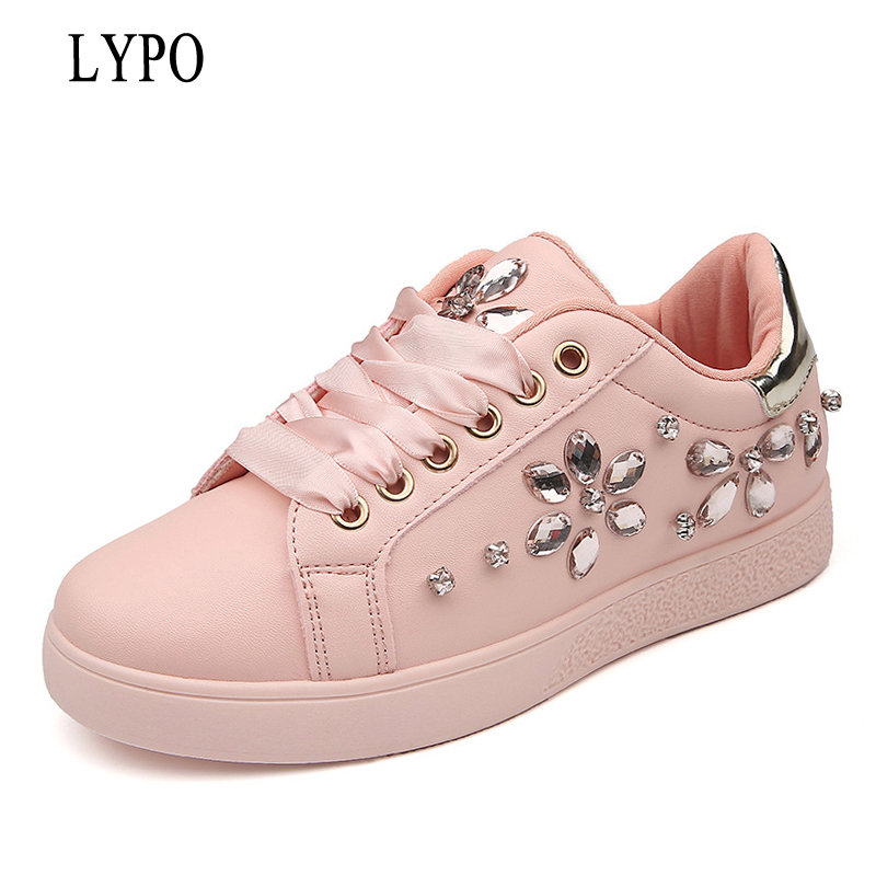 LYPO High Quality Leather Women's Flats 2018 Spring Fashion casual shoes women Rhinestone flat Lace Up sneaker XWX21026 dreamshining new fashion women colorful flat shoes women s flats womens high quality lazy shoes spring summer shoes size eu35 40