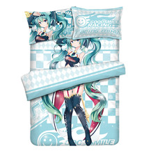 Japanese Anime Racing Hatsune Miku Otaku Bedding Linen Set Bed Sheet or Duvet Cover with Two Pillow cases