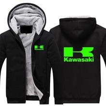 Зимнее пальто Для Мужчин's Повседневное толстые теплые толстовки хлопковая куртка Повседневное зеленый принт Kawasaki Moto логотип мотогонок кофты