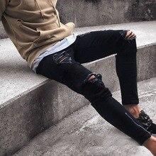 MJARTORIA Мужские модные узкие джинсовые брюки-карандаш с рваной отделкой New Ripped Hole Slim Fit