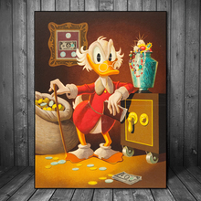 Scrooge McDuck Duck Animal Cartoon Canvas Painting Print Bedroom Home Decor Modern Wall Art Poster Classical Picture HD