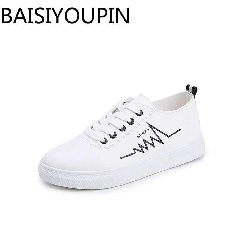 2018 New Women Causal Shoes Ladies Small White Shoes Girls Flats Shoes Joker Street Shoes Student Board Shoes Lace Up Shoe Woman