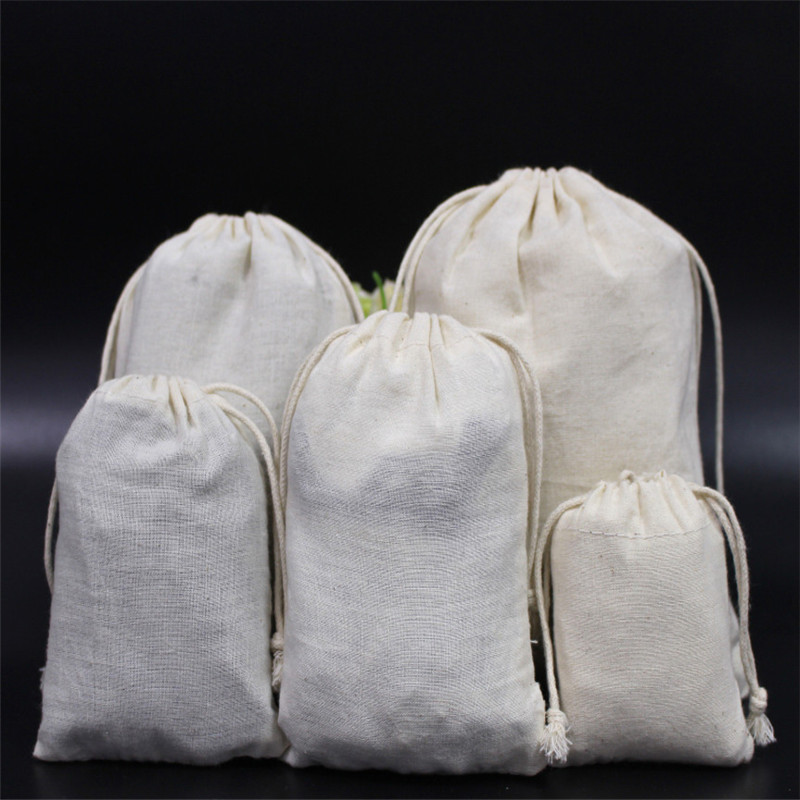 50pcs Cotton Cloth Packaging Travel Shopping Package Dust-proof  High-Quality Jewelry  Handbags Useful 10x15cm 13x18cm 15x20cm