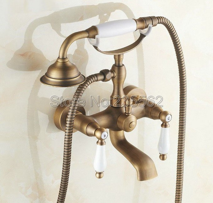Wall Mounted Antique Brass Bathroom Shower Faucet Bathtub Faucet Set with Telephone Style Ceramic Handheld Shower Spray ltf152Wall Mounted Antique Brass Bathroom Shower Faucet Bathtub Faucet Set with Telephone Style Ceramic Handheld Shower Spray ltf152