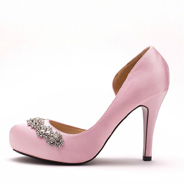 Pink Round Toe Bridal Wedding Shoes Heels Square Diamond Buckle High End Silk