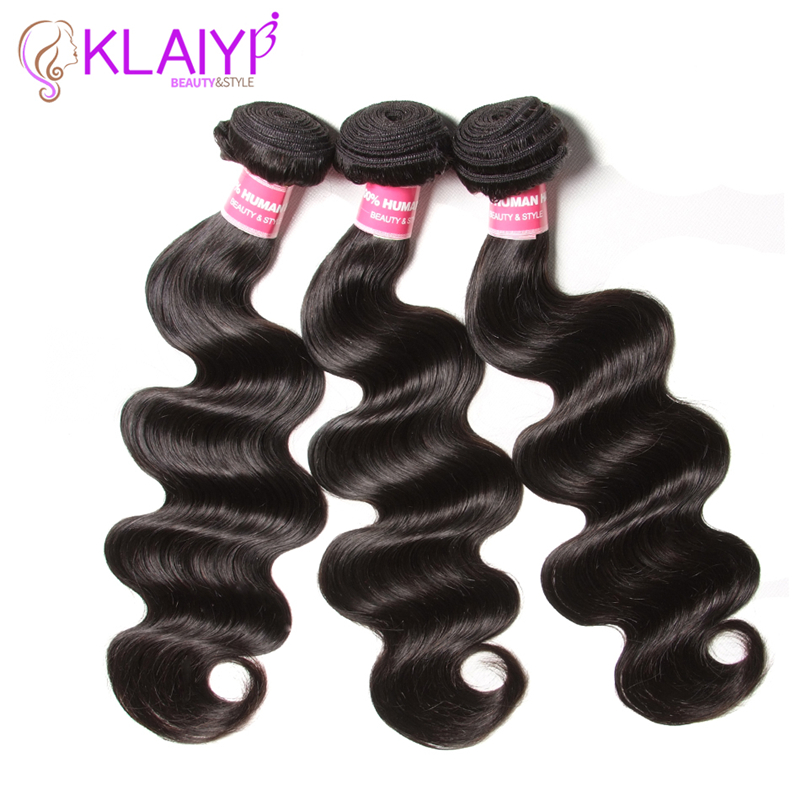 Klaiyi brasilianske hårvæv Bundler Body Wave Natural Color Human - Menneskehår (sort)