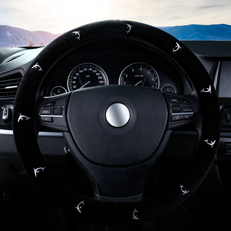 High quality plush exquisite embroidery warm universal steering wheel cover, car steering cover suitable for all car SUV series