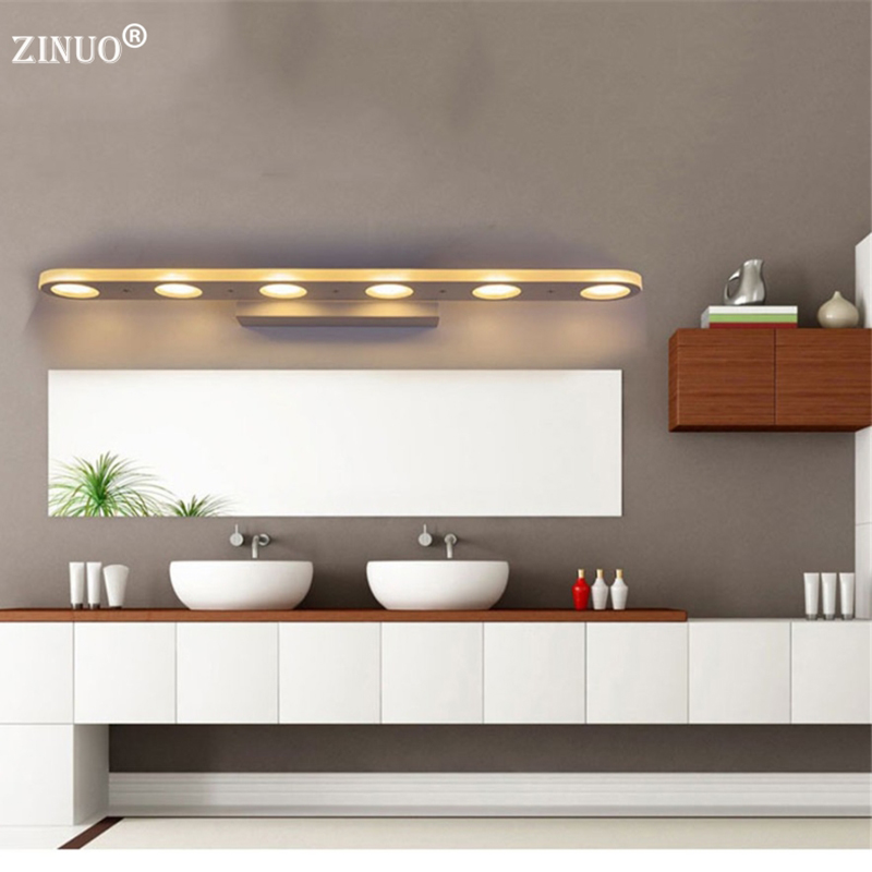 ZINUO 12W 18W Bathroom LED Mirror Light Waterproof 38CM 58CM AC220V 110V SMD5630 Cosmetic Acrylic Wall lamp Bathroom Lighting 38cm 58cm led mirror light 12w or 18w waterproof wall lamp fixture ac110v 220v acrylic wall mounted bathroom lighting free ship