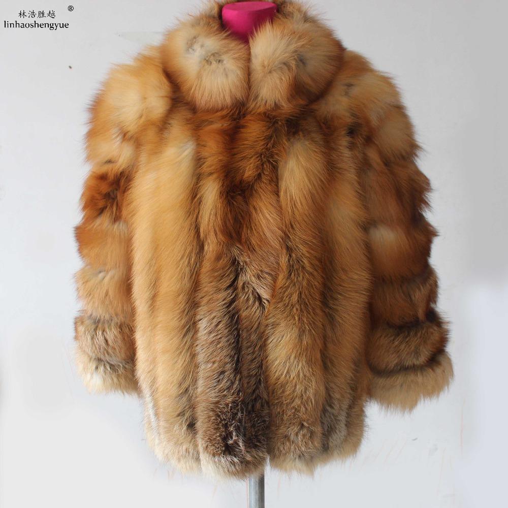 Linhaoshengyue 70cm fashion women red fox fur coat with stand collar