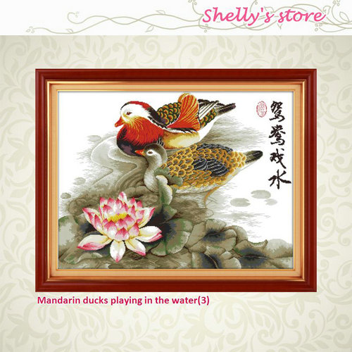 Mandarin ducks playing in the water decor painting counted or stamped 14CT 11CT Cross St ...