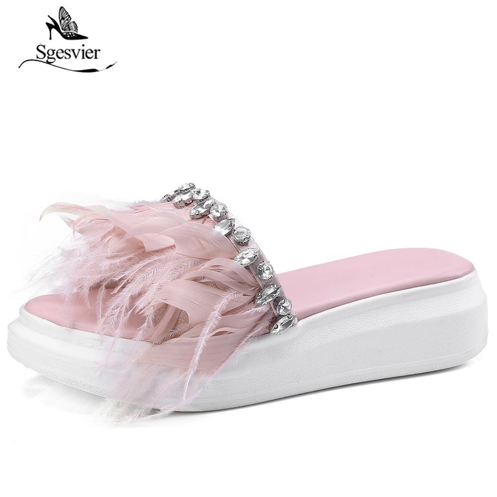 Sgesvier Women Sandals 2018 Feather Wedge Heel Summer Sandals Sweet Pink White Black Platform Beach Flip Flops Women Shoes B333