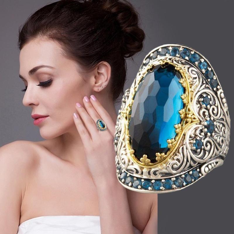 Antique Silver Color Filled Blue Zircon Big Rings For Women Men Boho Large Oval Austrian
