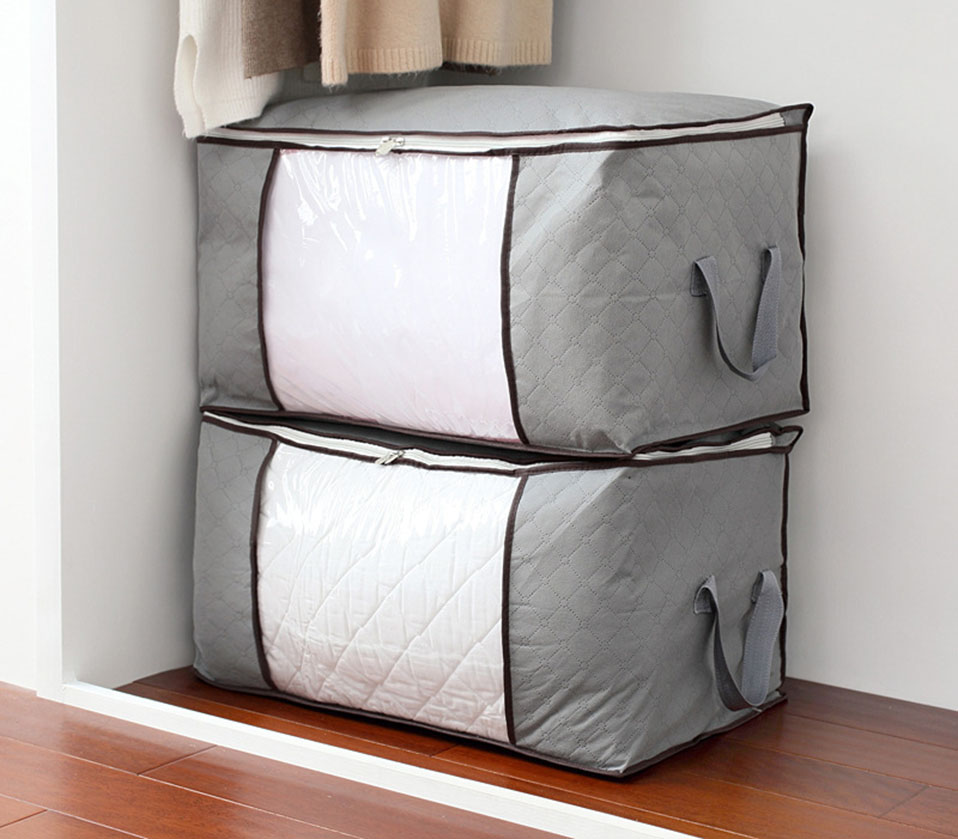 New Non-woven Portable Clothes Storage Bag Organizer 45.54022cm Folding Closet Organizer For Pillow Quilt Blanket Bedding Case (9)