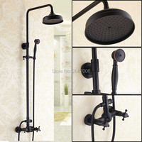 Free Shipping Hotel Oil Rubbed Bronze Shower Faucet With Rain Shower Head Bathroom Wall Mounted Blackened