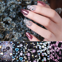 1 Bag Nail Art Rhinestones Nail Studs Rivet AB Color Shiny Crystal Mixed Size Flat Back Stones Marquise 3D Nail Art Decoration цены