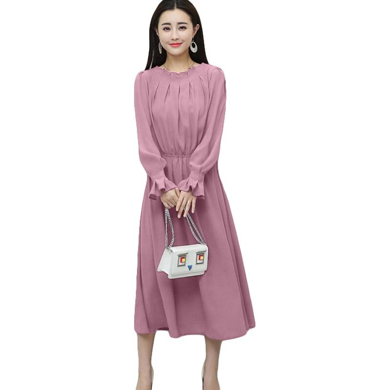 2018 Sweet Pink Ball Gown Office Lady Dress Women Solid Lantern ...