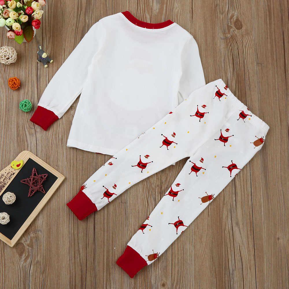 Christmas Clothes Toddler Kids Plus Size Sleepwear Set Infant Baby Girls Boys Cotton Christmas Santa Claus Print Top Pant Set