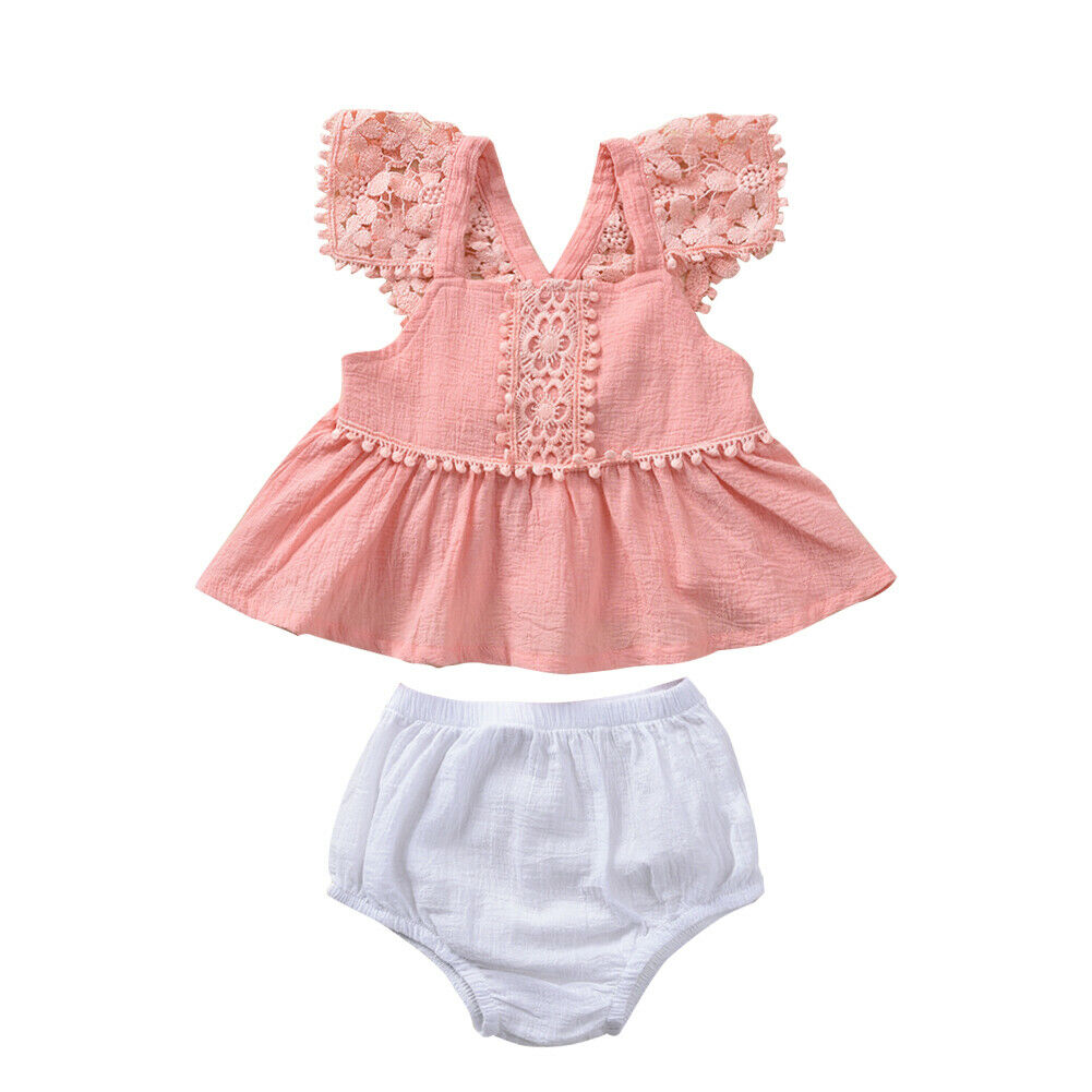 0882e823f810 Newborn Baby Girl Clothes Sets Pink Lace Floral Tops+White PP Pants Bloomer Summer  Outfits Set ~ Super Deal June 2019