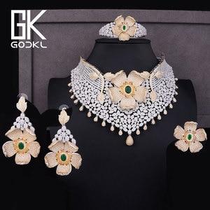Image 4 - GODKI יוקרה מעוקב זירקון ניגרית נשים חתונה הודי שרשרת עגילי סטי צמיד טבעת parure bijoux femme