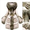 2016 mulheres de inverno Casacos De Luxo Para Baixo Mulheres Para Baixo casaco de Pato Outwear para baixo quilting Projeto longo fino de pele de guaxinim Grande Para Baixo casacos
