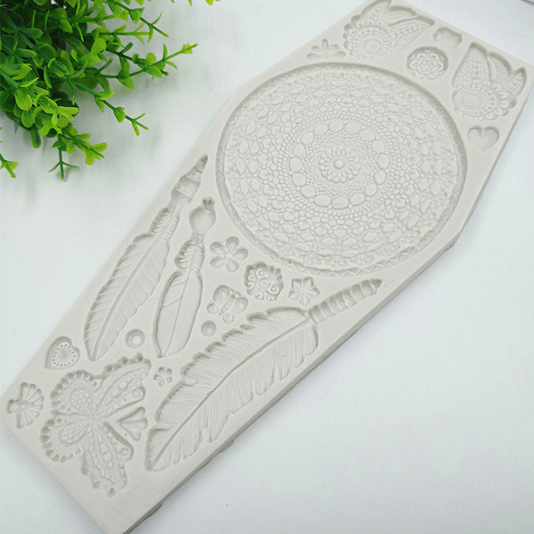 Feather Butterfly Lace Cake Border Silicone Molds Wedding Cake Decorating Fondant Mold Chocolate Candy Fimo Clay Mould h975