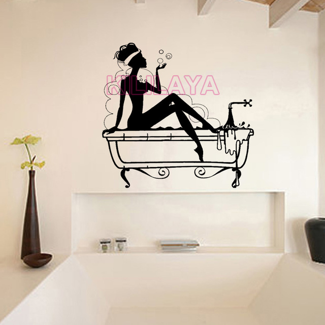 Vinyl Wall Stickers for Bathroom Sexy Women Bubbles Mural ...