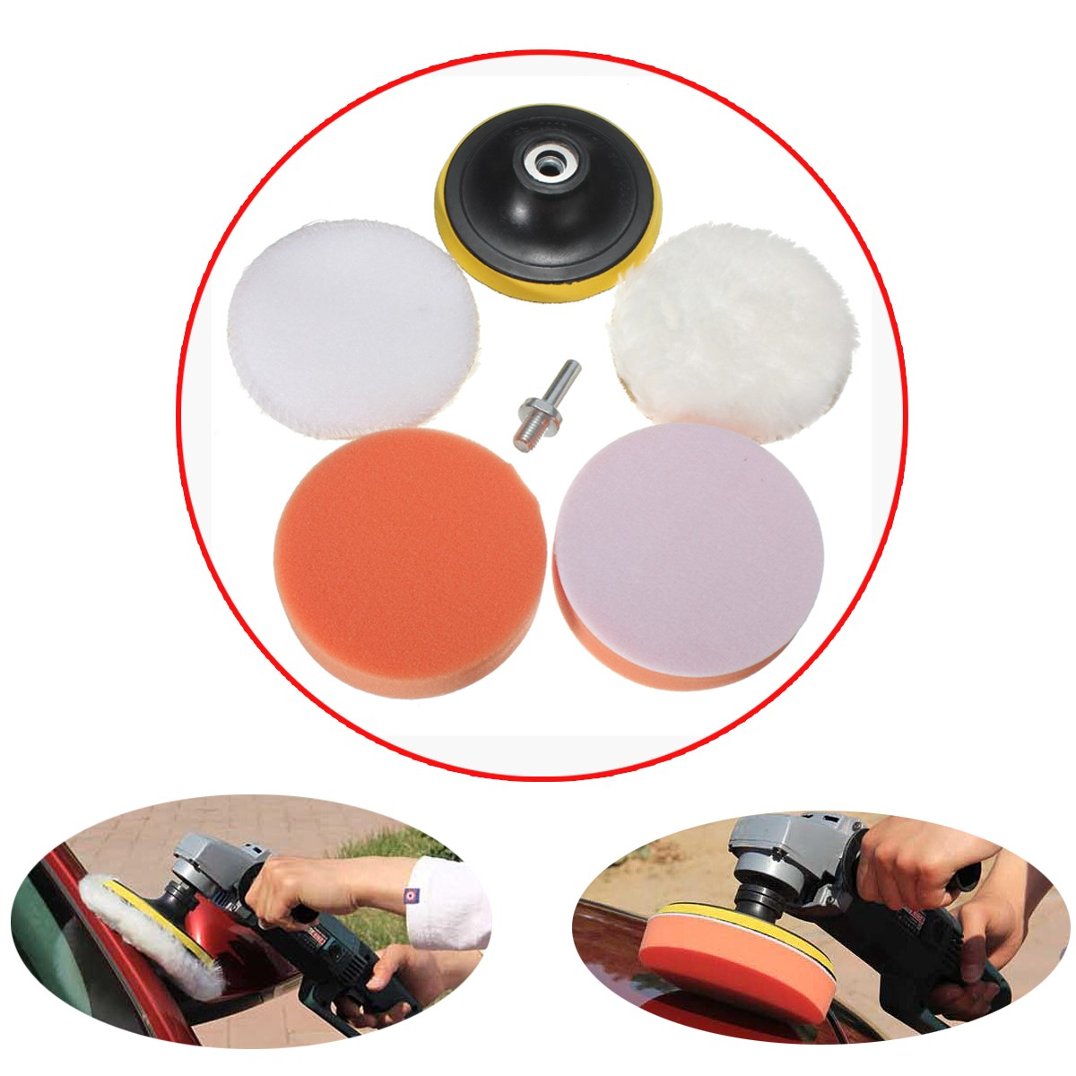 5PCS/Set Wax Nylon Wool Wheel Polishing Buffer Pad Foam
