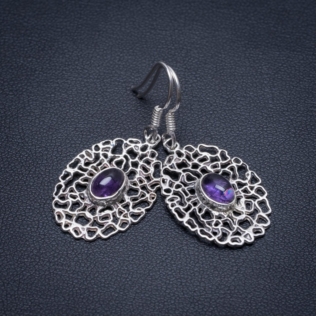 Natural Amethyst Handmade Mexican 925 Sterling Silver Earrings 1 1/2 S1551Natural Amethyst Handmade Mexican 925 Sterling Silver Earrings 1 1/2 S1551
