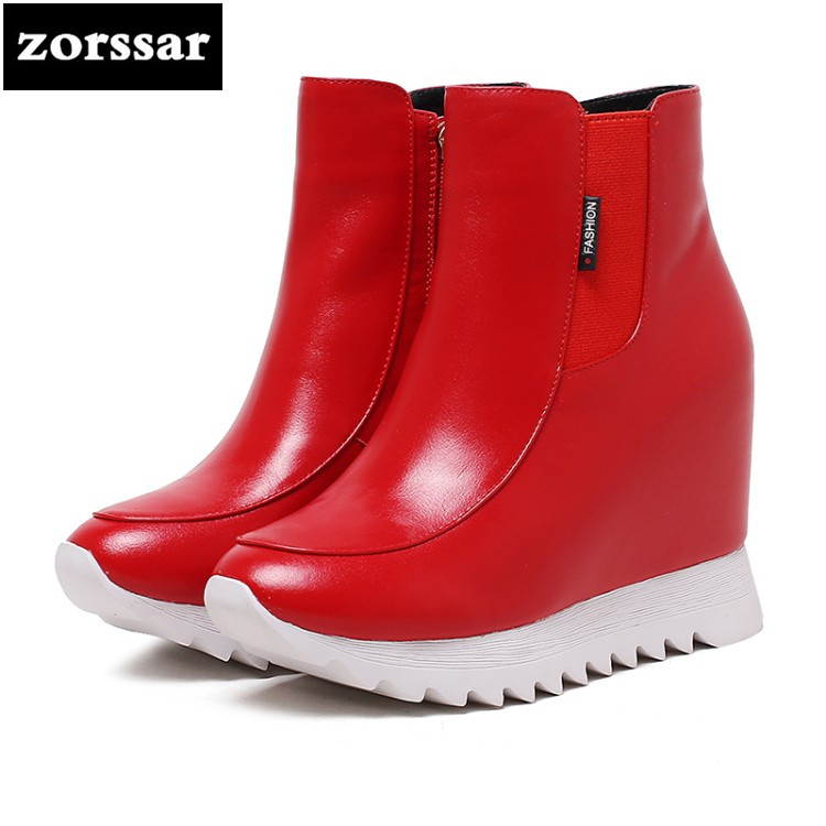 {Zorssar} 2018 New winter Women's shoes platform ankle boots height increasing women boots shoes heels zapatos de mujer botas