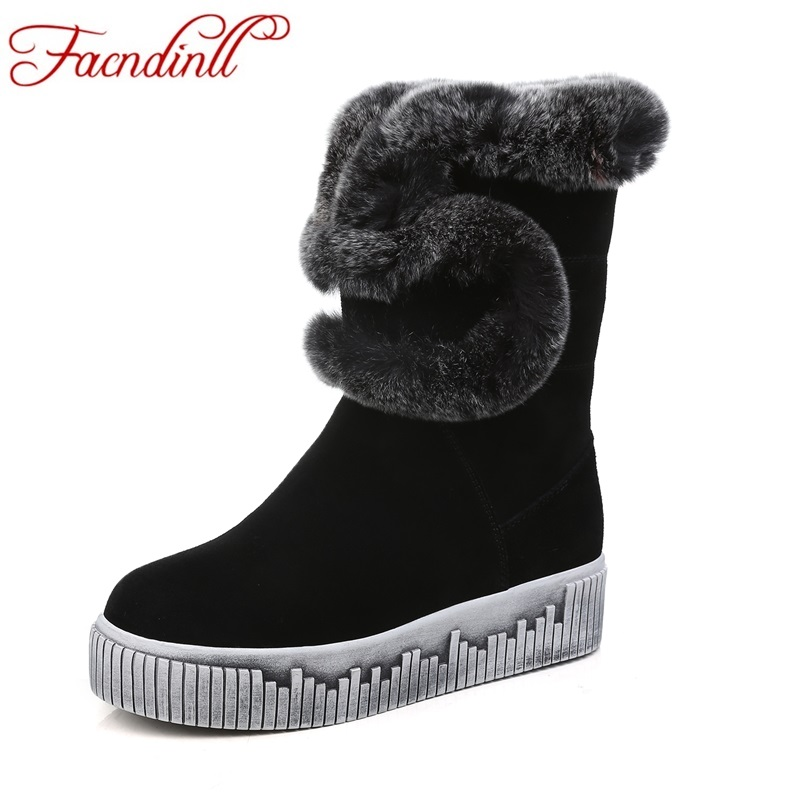 FACNDINLL new 2017 winter women warm snow boots shoes fashion real leather flats heel round toe real fur black women ankle boots
