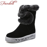 FACNDINLL New 2017 Winter Women Warm Snow Boots Shoes Fashion Real Leather Flats Heel Round Toe