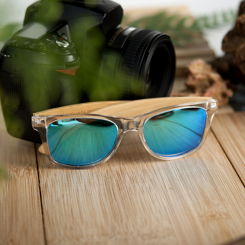 Clear Color Polarized Wood Bamboo Sunglasses For Women. 26