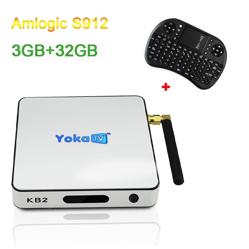 Amlogic S912 TV BOX KB2 Pro 3GB 32GB Android 6.0 Smart TV Octa Core 2.4G WIFI BT4.0 HDMI H.265 4K Media Player with i8 keyboard android tv box h96 pro plus 1pcs i8 keyboard amlogic s912 3gb 32gb quad core 4k wifi h 265 mini pc smart tv box set top box