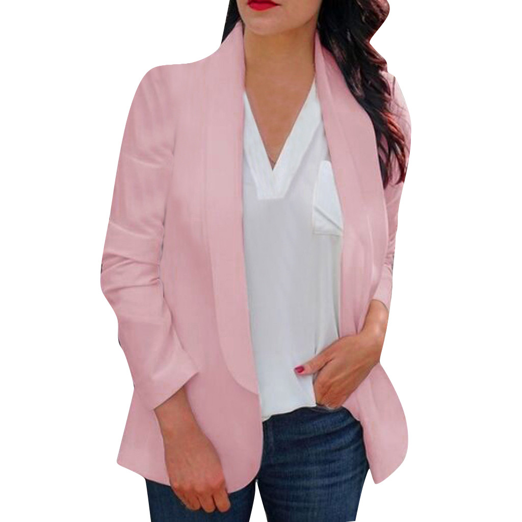 HTB1Q1FnaFT7gK0jSZFpq6yTkpXaM 30#Feminino Women White Long Sleeve Open Front Cardigan Suit Jacket Work Office Knit