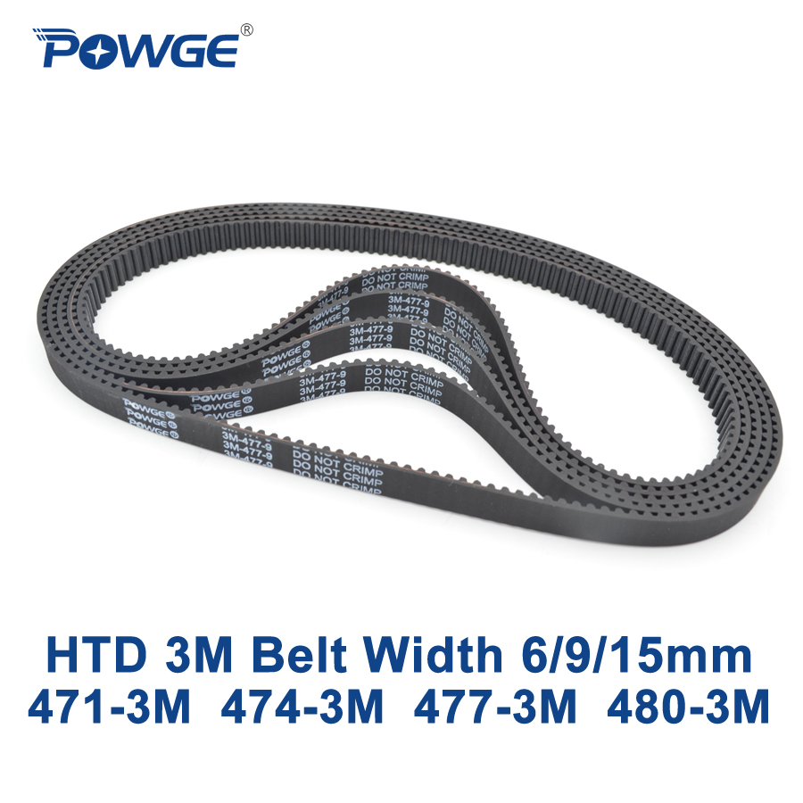 купить POWGE HTD 3M Timing belt C= 471 474 477 480 width 6/9/15mm Teeth 157 158 159 160 HTD3M synchronous 471-3M 474-3M 477-3M 480-3M по цене 951.29 рублей