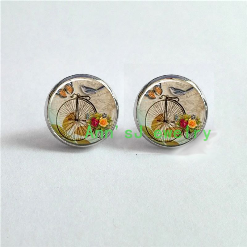 HZ4-00161 Penny Farthing ear nail High Wheel Bicycle Earrings With Bird ear stud Victorian Era Style Jewelry glass Cabochon