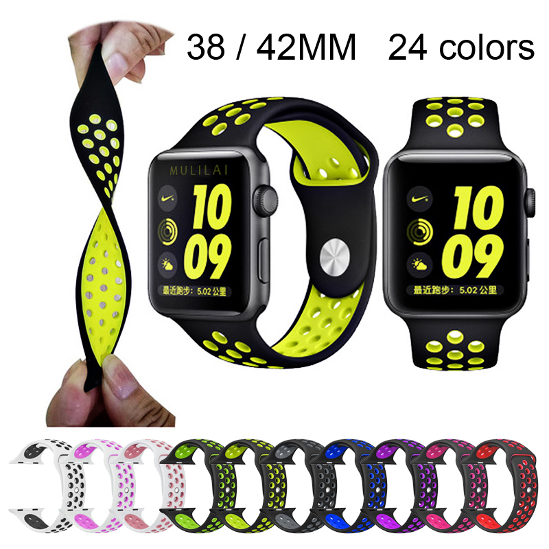 BRAND sport Silicone band strap for apple watch nike 42mm 38mm bracelet wrist band watch watchband For iwatch 2/1 Accessories 6 colors luxury genuine leather watchband for apple watch sport iwatch 38mm 42mm watch wrist strap bracelect replacement