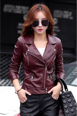 2016 new autumn fashion street ladies short wash PU leather   jacket   zipper bright new lady   basic     jacket   good quality