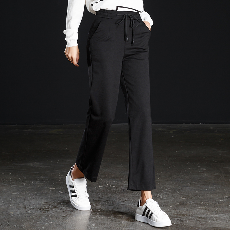 women elastic high waist ankle length straight pants summer