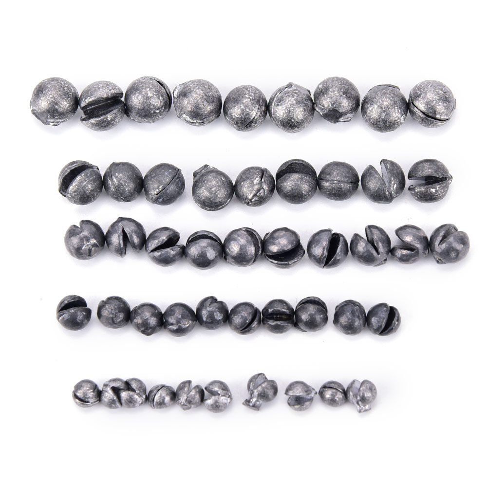 100pcs/lot Oval Split Shot Lead Sinker Solid Fishing Sinkers 0.35g/0.5g/0.8g/1.0g/1.5g Carp Fishing Accessories Fishing Weight