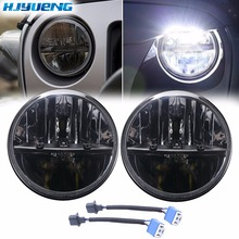 HJYUENG 36w 7 Inch Led Driving Light H4 Hi & Lo Beam Round Drl Led Headlights for Jeep JK TJ Lada Niva 4x4 Hummer Offroad цена