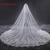 3.2M Meter Ivory Cathedral Wedding Veils Long Lace Edge Bridal Veil without Comb Wedding Accessories Bride Mantilla Wedding Veil