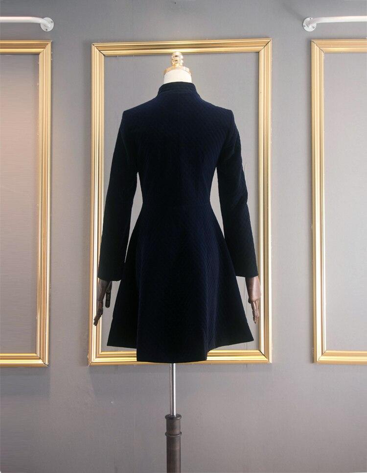 A Abiti Blue Di Slim Dress Maniche Inverno Stand Royal Elegante Donne 2018 Vintage Velvet Party Lunghe Vestdios Fit Famale Colletto PwRXUU