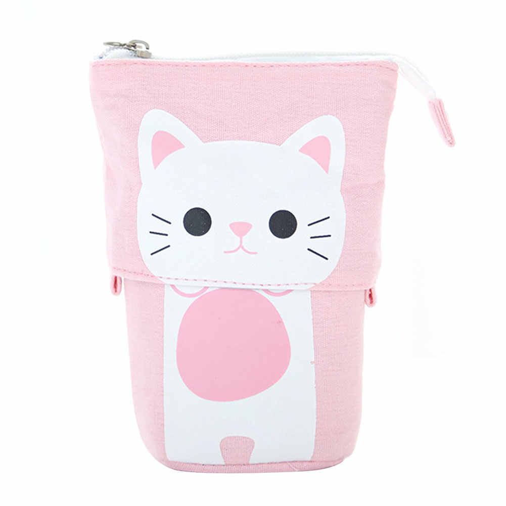 Girls Boys Retractable Multifunctional Holder Zipper Pencil Case Cute Stationery Gift Pen Box School