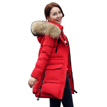 TOP quality new 2016 winter jacket coat women's parkas army green Large raccoon fur collar hooded woman outwear loose clothing