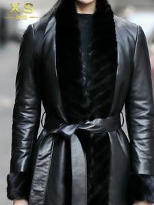 Image 4 - AYUNSUE אמיתי מעיל עור אמיתי מינק פרווה צווארון קוריאני למטה מעיל 2020 חורף מעיל נשים 100% ארוך כבש מעיל MY3743
